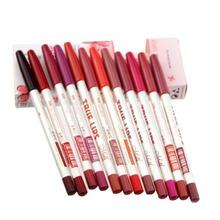 12 pçs/lote 15 CM 12 cores / Set Maquiagem à prova d ' água delineador de lábios lápis feminino profissional de longa duração Lipliner Lips ferramentas de Maquiagem
