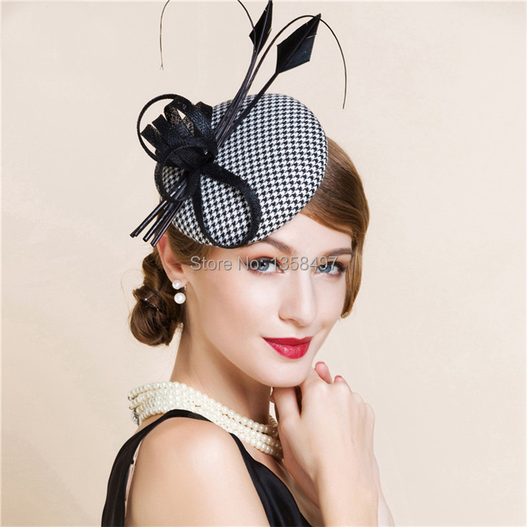 Wholesale Black And White England Style Fascinator Hair Pillbox Hat ... f20ce4e568f