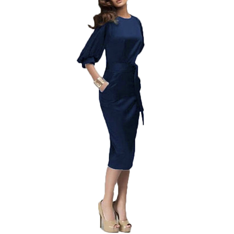Zanzea 2016 Women Spring Autumn Work Dress European Half Sleeve Elegant Ladies Bodycon Pencil Slim Party