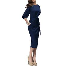Zanzea 2016 Women Spring Autumn Work Dress European Half Sleeve Elegant Ladies Bodycon Pencil Slim Party Dresses Vestidos M-6XL