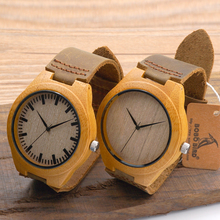 Wholesale High Quality Handmade Natural Wood Bamboo Watches Leather Straps Quartz Watches in Wood Boxes