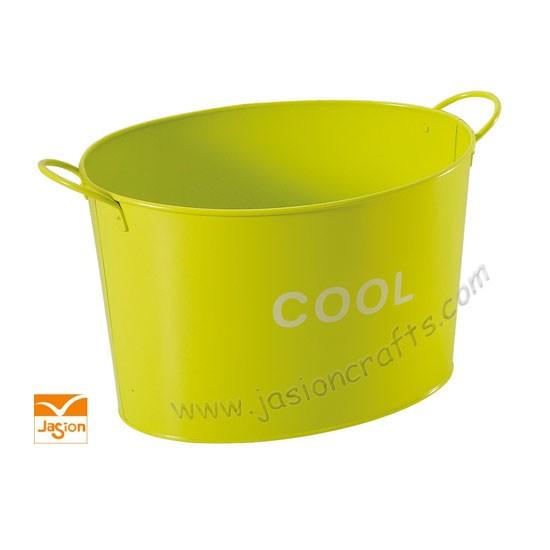 Oval Shape Powder Coated Metal Ice Drinks Bucket Beer Ice