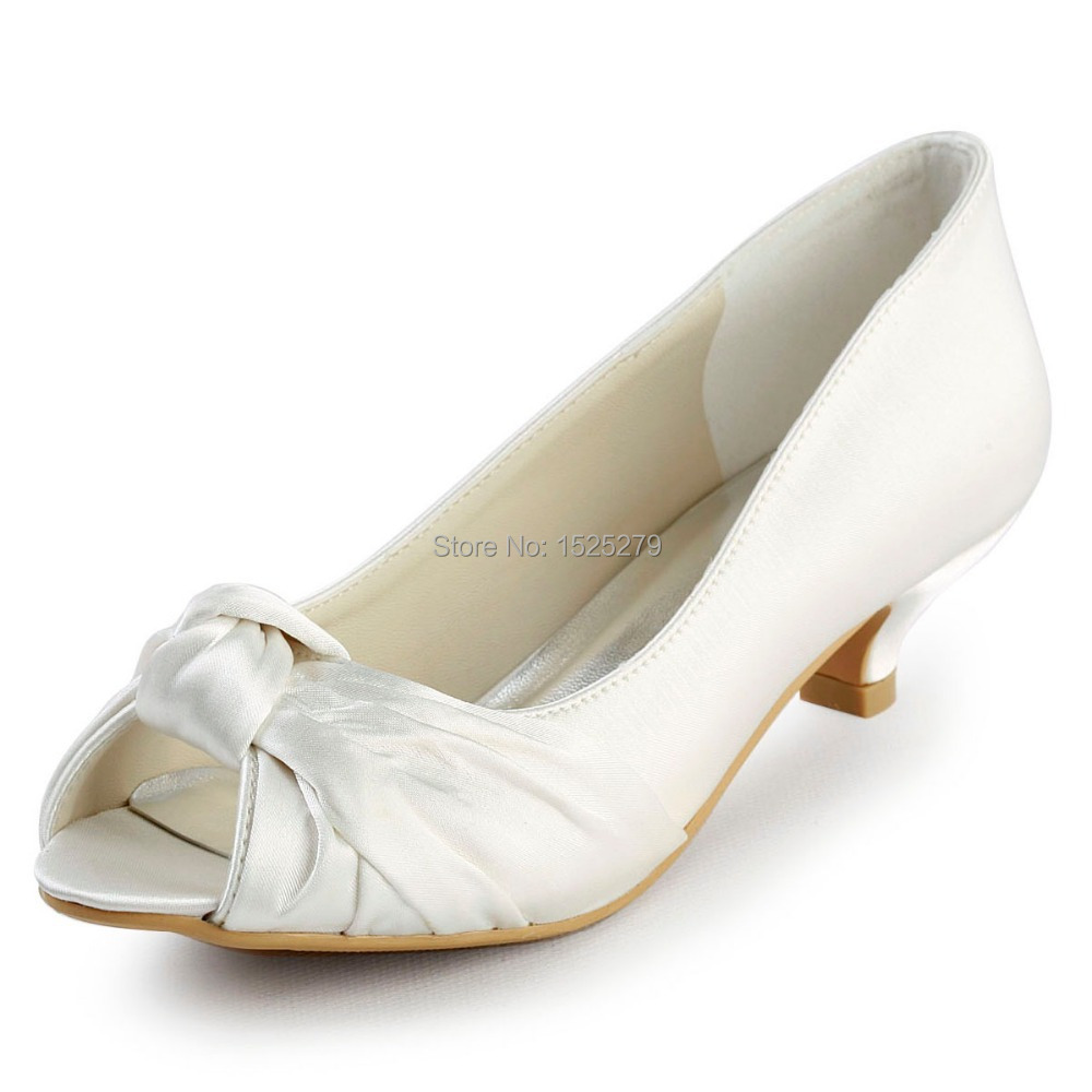 Comfortable Low Heel Wedding Shoes: EP2045 Ivory White Women Bridal Party Low Heels 1.5'' Prom