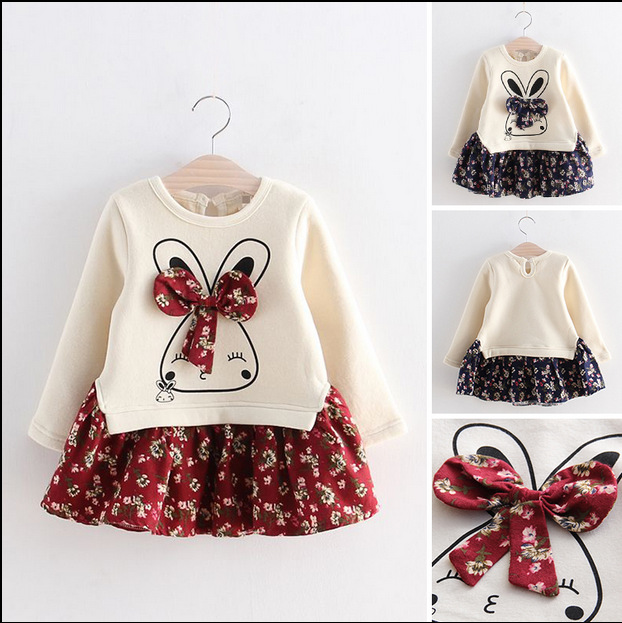 Korean Baby girl font b Dress b font ball gown vestidos autumn 2 7Y kids warm
