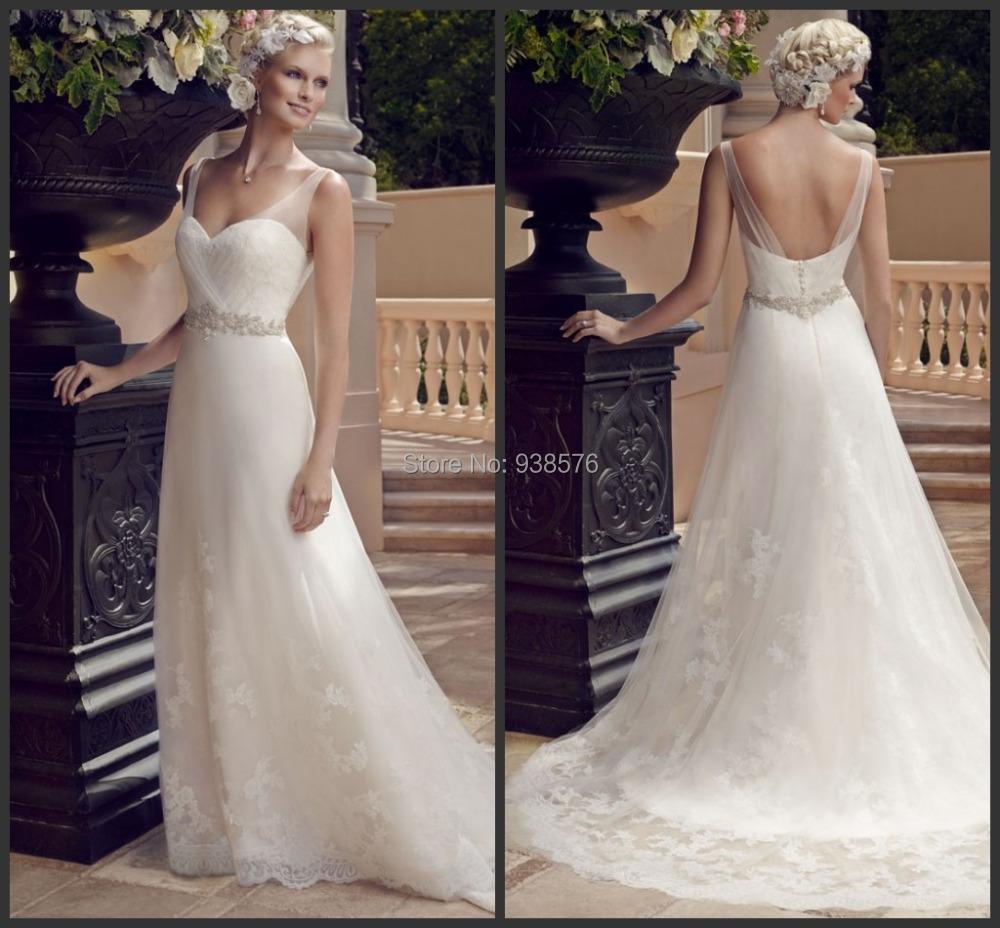 Spanish Lace Wedding Gown: Vestido De Noiva 2015 New A Line Style White Open Back