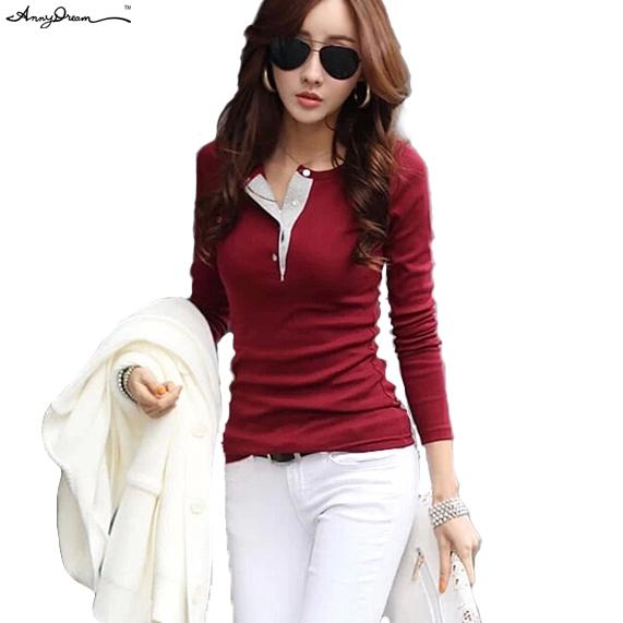 5 цветов новое хлопок тонкой о-образным шеи сплошной свободного покроя рубашки поло женская мода дамы с длинным рукавом блузки топы рубашки WZTXPO007