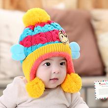 Children Winter Hats For Kids Aviator Hat Cute Warm Cap Baby Earflaps Velvet Thickening Crochet Knitted