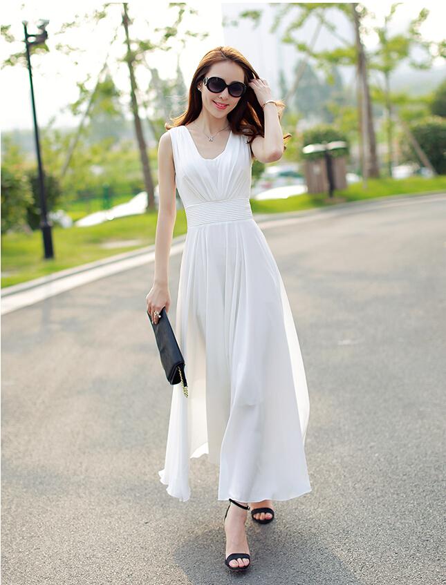 8016b46ed422 2015 New All White Casual Maxi Dress Sleeveless Elegant .