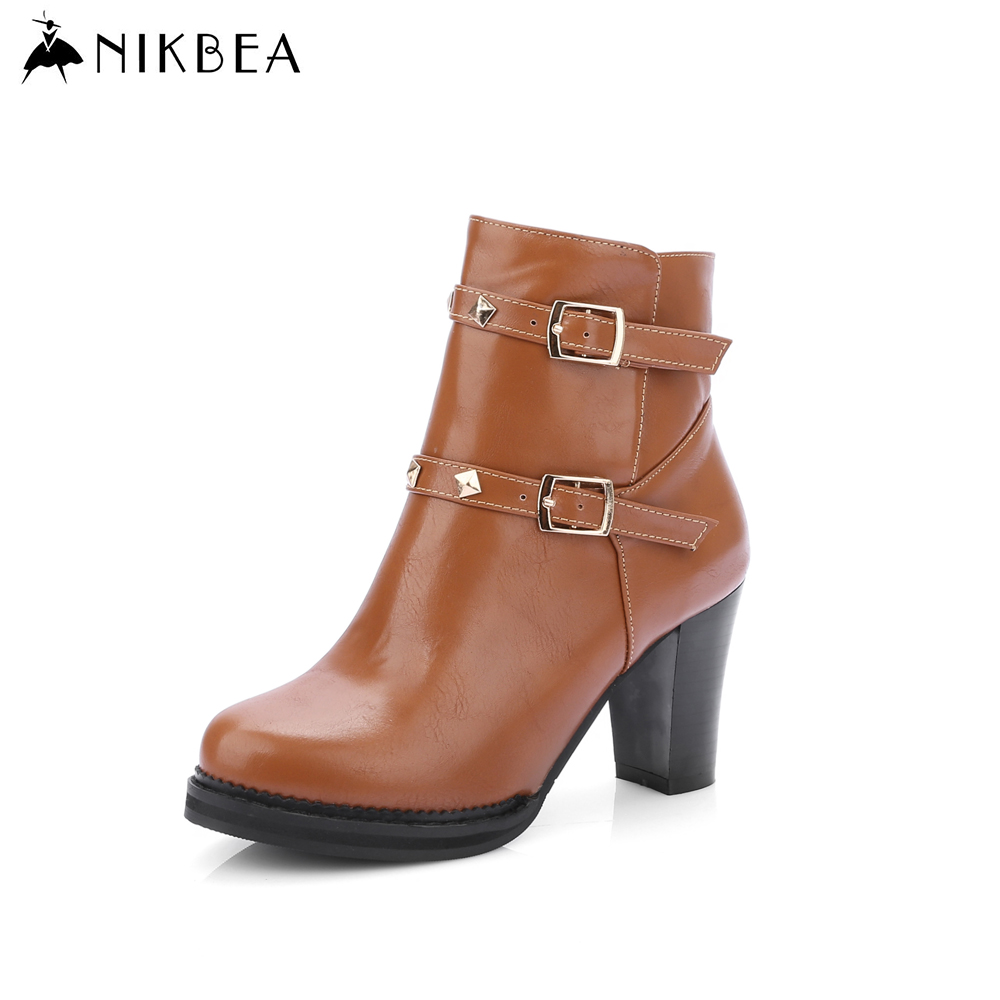 2016 Nikbea Brand Leather Ankle Boots Large Size Winter
