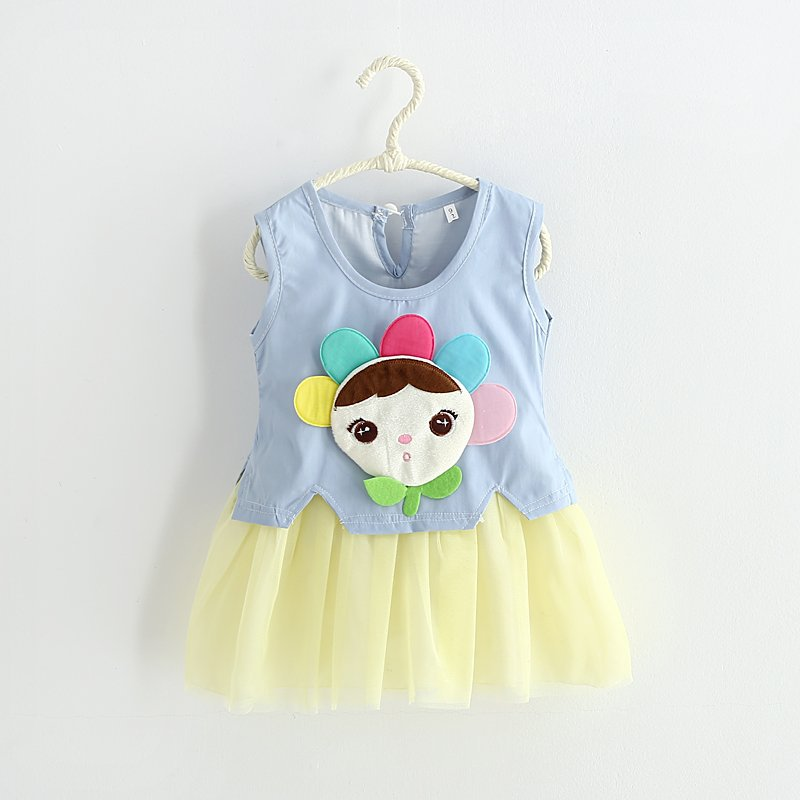 Baby Kids Girls font b Dress b font Princess Party Denim Tulle Lace Gown font b