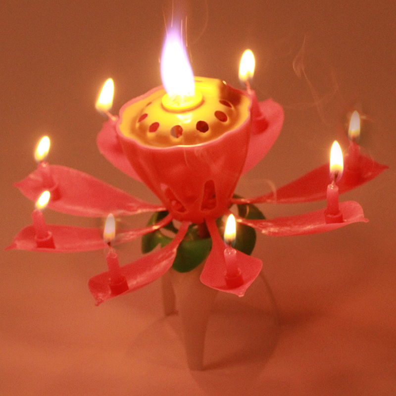 Spinning Lotus Musical Birthday Candle Flower Cake New 1PC Lot Beautiful Blossom