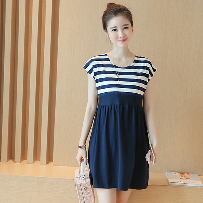 Stripe Cotton Maternity Clothes Dress For Pregnant Women Pregnancy Clothing Casual Short Sleeve Vestido Gestante Maternal