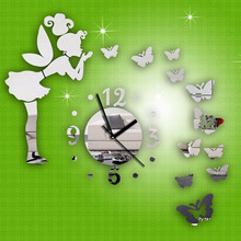 1 set 2016 New Arrival Double-sided Adhesive Tape Fashion DIY Butterfly Fairy Wall Stickers Mirror Wall Clock Home Decor