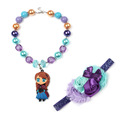 Fancy Dress Accessories Beauty Cheer Girl Love Purple Necklace Crystal Chunky Toddler Kid Jewelry Ribbon Flower