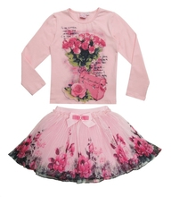 New Fashion 2015 Boutique Outfits Sets For Cute Kids Girl Print Floral Long Sleeve Shirts Tops+Tutu Skirts With Bow Clothes