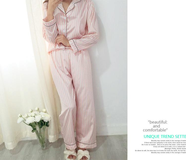 2017 New Spring Long-sleeve Sexy Faux Silk Fashion Pink Stripe Women  Pajamas Sets Simple Soft Ladies Homewear Pijamas Set c1710c5b5