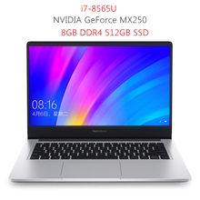 Xiaomi Redmibook 14 ноутбук Intel Core i7-8565U Windows 10 NVIDIA GeForce MX250 8 ГБ 512 ГБ BT5.0 ультратонкий ноутбук 1920x1080(Китай)