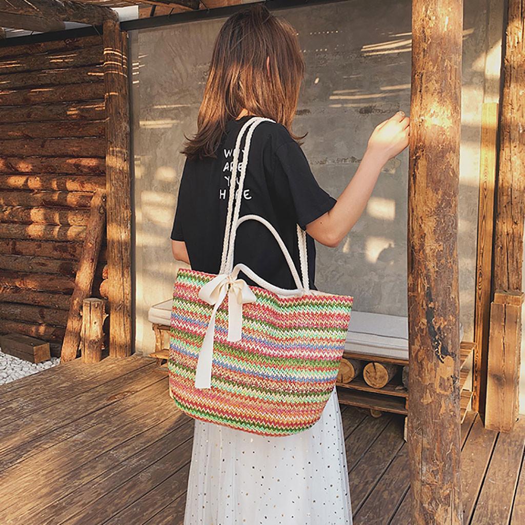 3291cb8f607 Straw Beach Bag Vintage Handmade Woven Shoulder Bag Rainbow Stripes ...