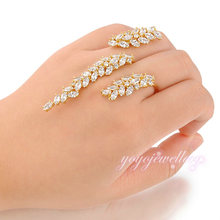Hot sale Wholesale Creative Unique Design Through Fingers Jewelry Ring Free Size Handlets Cuff Ring R986
