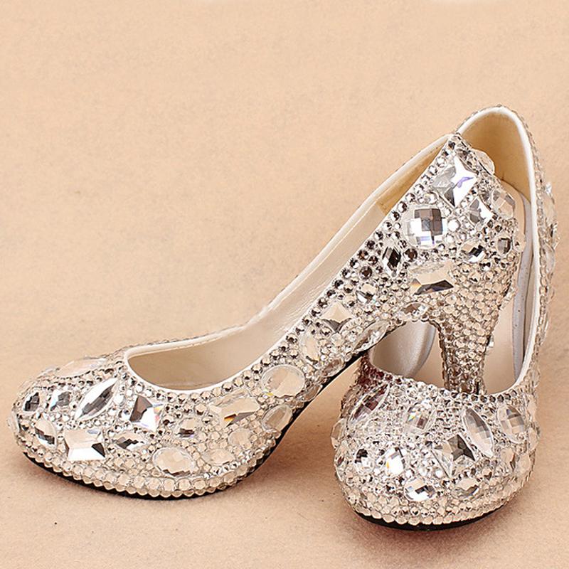 a5d883fda88 New wedding bridal dress shoes silver crystal rhinestone wedding bridal  shoes bride wedding dress shoes round