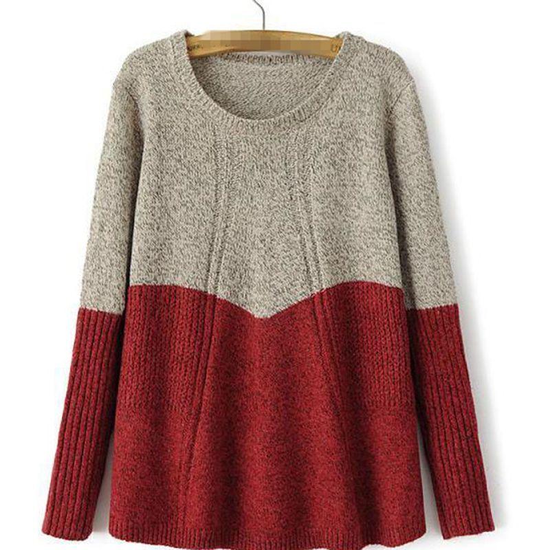Широкий длинным рукавом свободного покроя женщины вязать перемычка пуловер трикотаж топы свитер