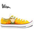 Wen Anime Hand Painted Shoes Design Custom Uzumaki Naruto Yellow Low Top Men Women s Canvas