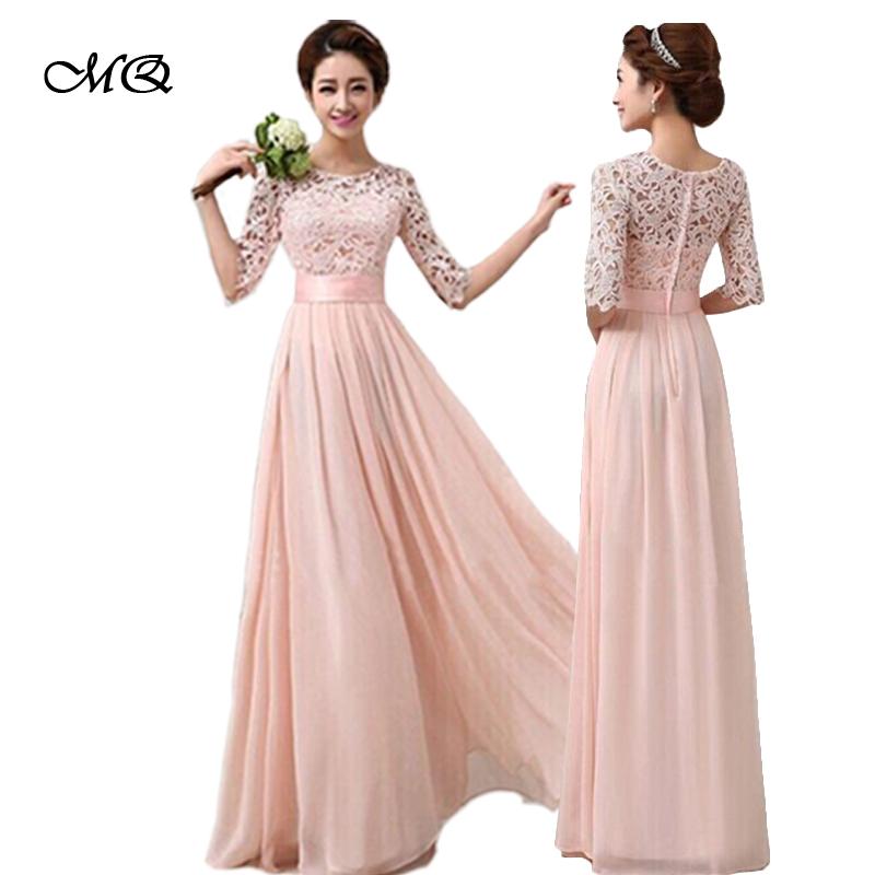 Pluz Size 2016 Autumn Women Maxi Long Chiffon Dress Half Sleeve Lace Maxi Dresses Formal Wedding