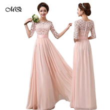 Elegantní dámské dlouhé šaty s rukávem, větší velikost