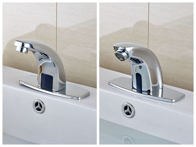 7 Faucet Finishes For Fabulous Bathrooms: Deck Mount Brass Chrome Finish Basin Sink Faucet Automatic