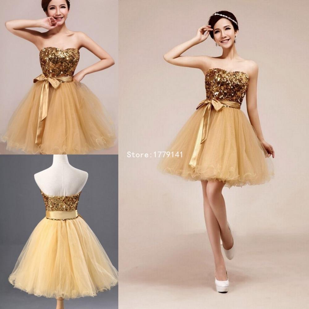 Gold Short Bridesmaid Dresses Fashion Dresses