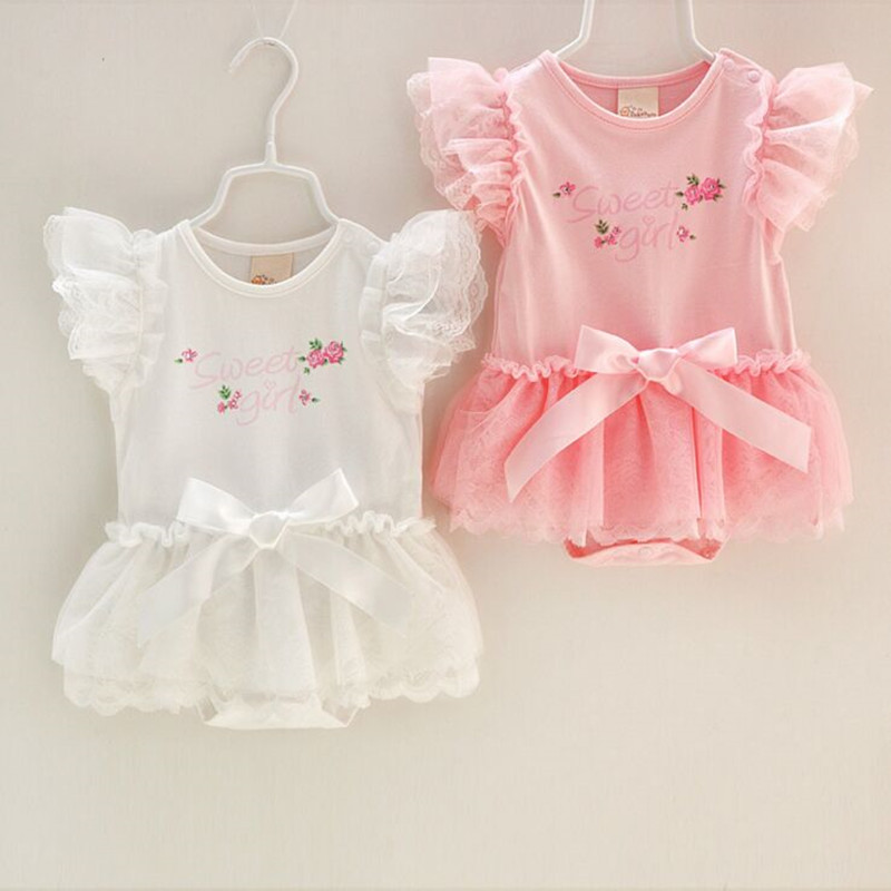 2016 Summer Cotton Baby Rompers Infant Toddler Jumpsuit Lace Collar Short Sleeve Princess Baby Girl Clothing Newborn