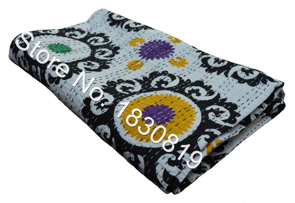 Indian Kantha Quilt, Suzani Kantha Rallies, Reversible Bedspread (TWIN Size, 100% Premium Quality) Vintage Ethinic Decor.