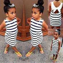 2016 Summer Girls Party Striped Bowknot Ball Gown Baby Kids Fancy Dress 2-7Y