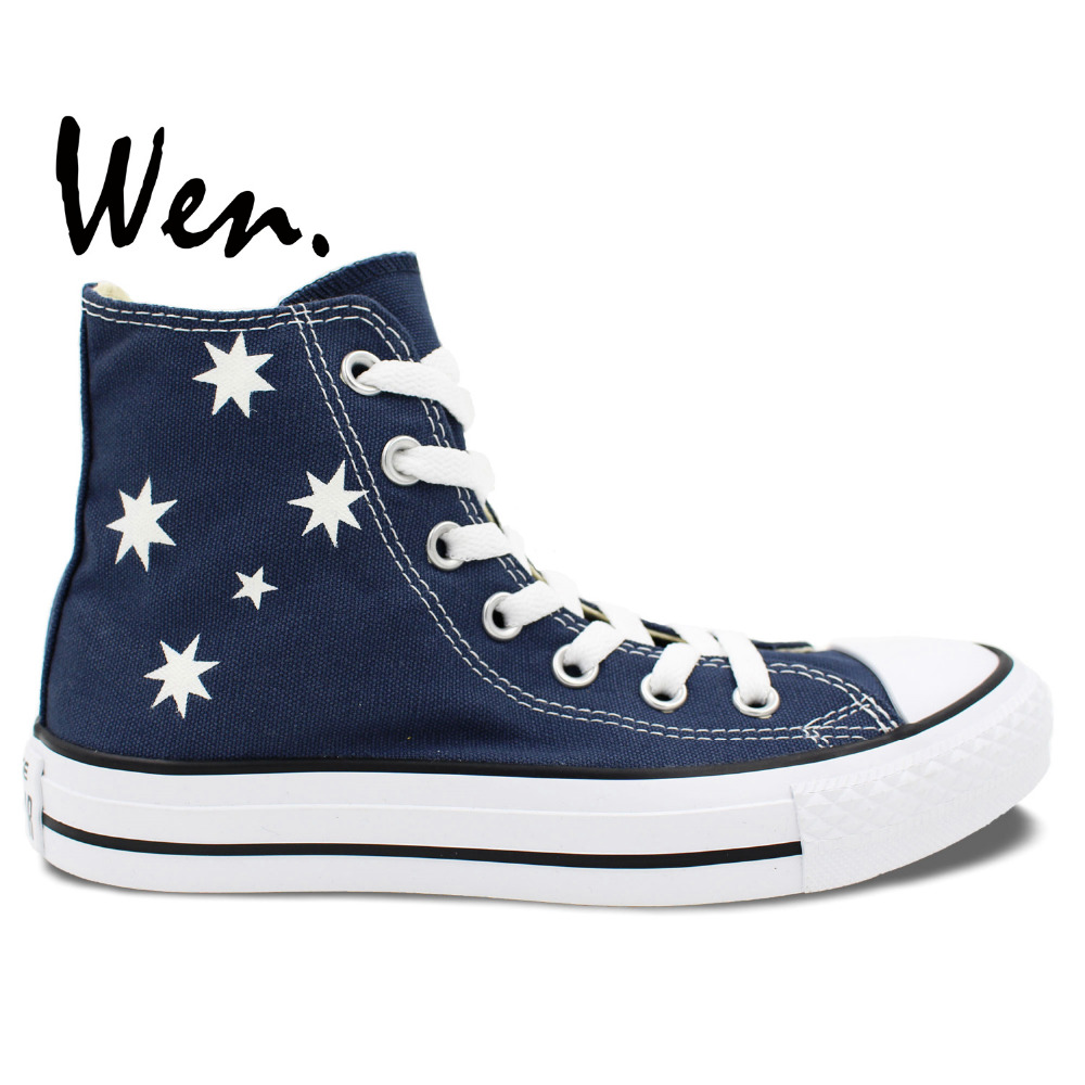 Australia Flag Design Color High Top Painted Canvas Shoes