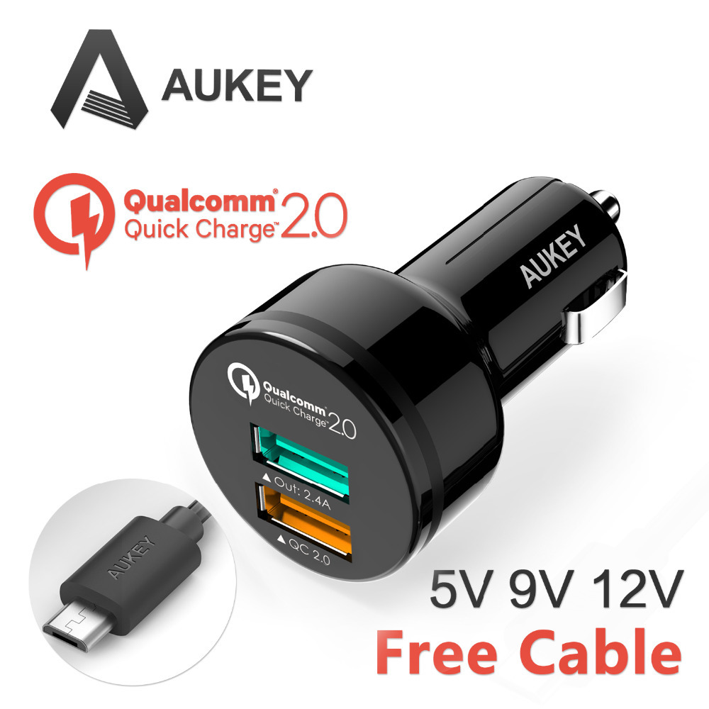 [ Qualcomm сертифицированный ] Aukey быстрая зарядка 2.0 30 Вт 2 разъём(ов) USB адаптер автомобильное зарядное устройство ( AIPower 5 В / 2.4A + быстрая зарядка ) с микро-кабель
