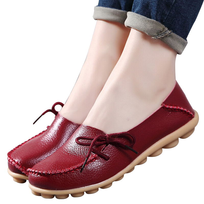 d4e330205 Large size Causal leather Women shoes flat loafers mother shoes ladies  lace-up fashion comfortable breathable women flats SDC179
