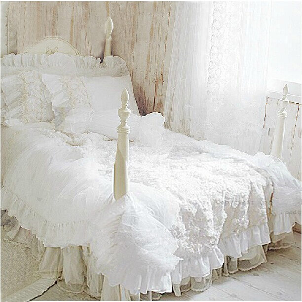 hot 4 pcs set romantique blanc dentelle rose ensemble de literie princesse housse de couette. Black Bedroom Furniture Sets. Home Design Ideas