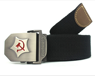 2015 New Men Belt Thicken Canvas Communist Military Belt Army Tactical Belt High Quality Strap 110