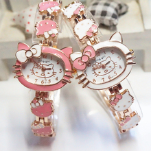 2015 New Hello Kitty Watches Fashion Ladies Quart Watch Vintage Kids Cartoon Wristwatches Analog King Girl Brand Quartz women