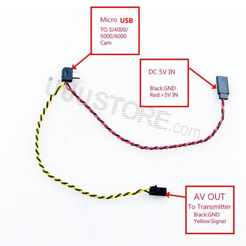 Micro USB to AV Out Cable for SJ4000 SJ5000 SJ6000 Camera FPV Video Audio Transmitter Cable AV