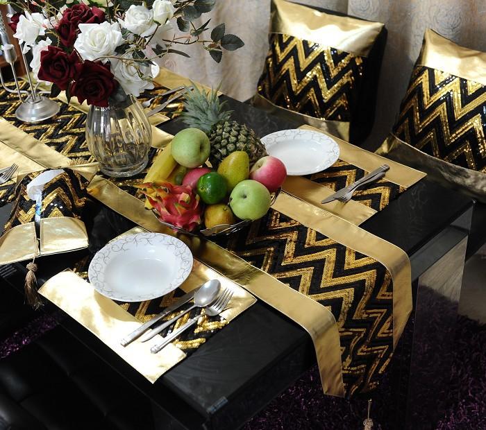 Wholesale Gold Black Table Set Blingbling Table Runner