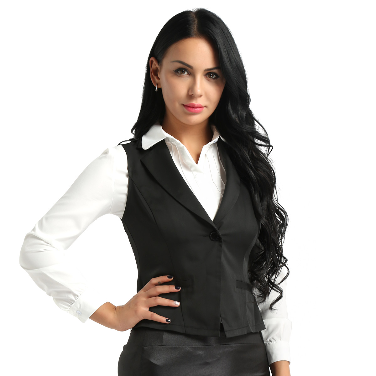 Beyove Womens Waistcoat Fully Lined 4 Button V-Neck Economy Dressy Suit Formal Business Vest