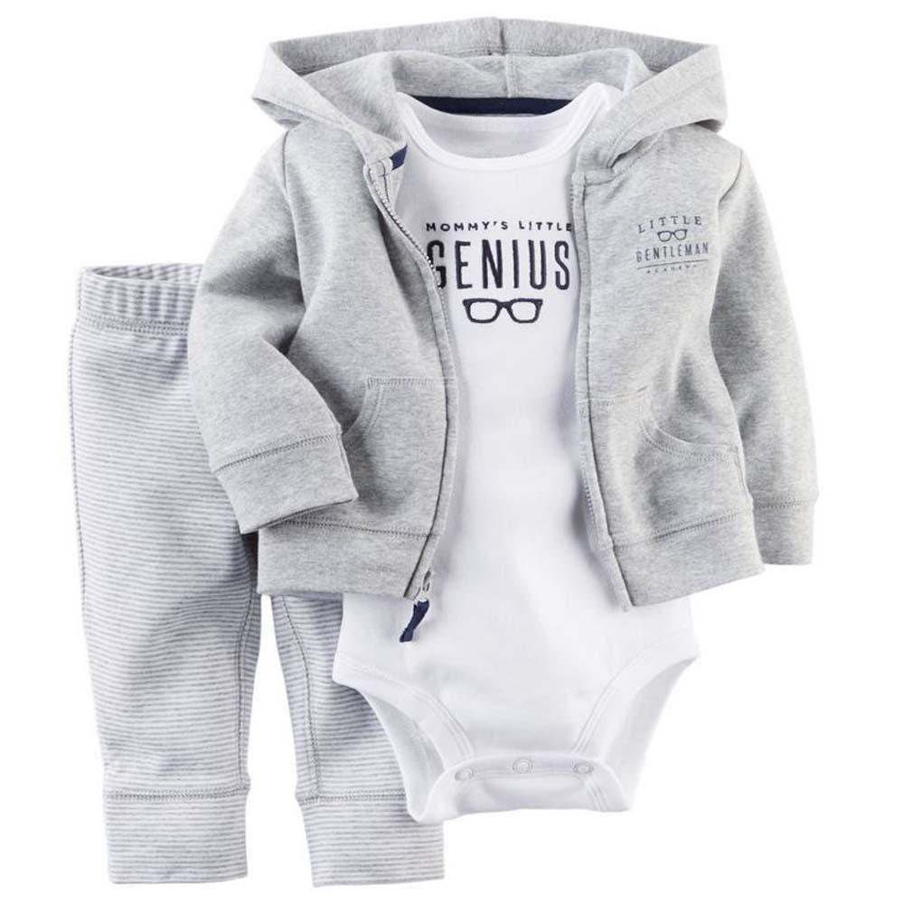 Лето весна bebe девочка, дети ребенок мальчик одежда пальто + комбинезон + брюки 3 шт. новорожденного мальчика комплект одежды, roupas bebes meninos