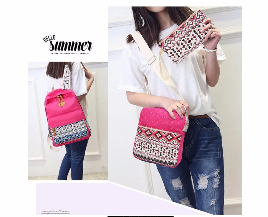 a124f3511e77 3 PC Set Canvas Printing Backpack Women School Bags for Teenage Girls Cute  Bookbags Laptop Backpacks