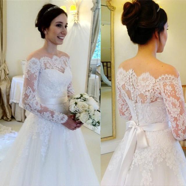 Vestido De Noiva Renda Vintage Lace Princess Wedding Dress: Vestido De Casamento Vestido De Noiva Manga Longa Elegant
