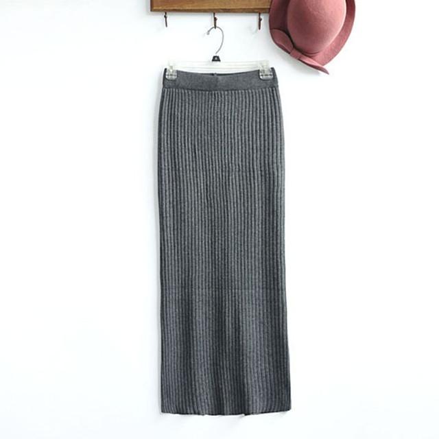 fea89943bf ... Long Skirt With Kick Pleat: 2015 New Autumn Winter Women's Pencil Skirt  Long Maxi