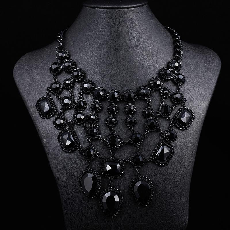 2014 ZA women black gem crystal necklaces & pendants cross