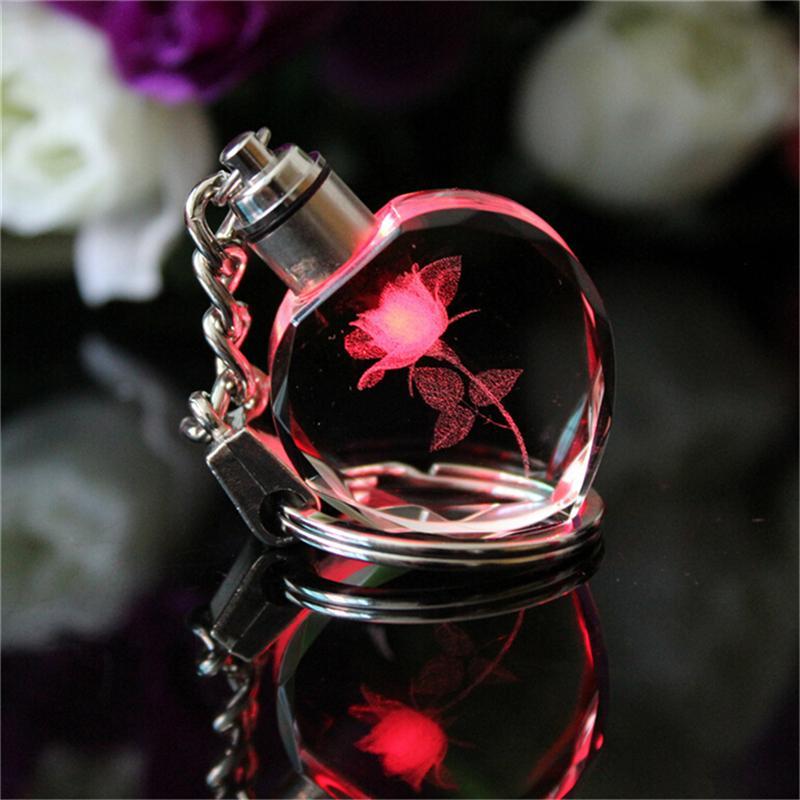 Hot Personality Rose Pattern Luminous Keyring Square Crystal LED ... e9a40d1fbd6f