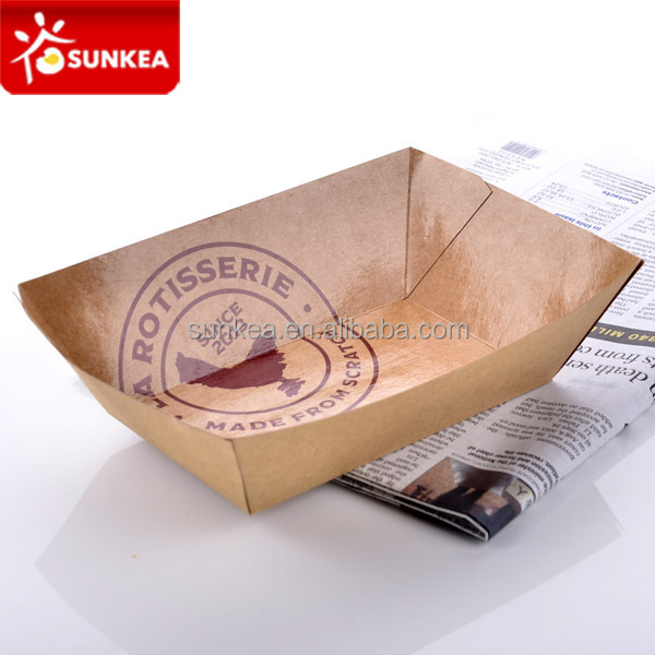 Disposable paper food packing tray/paper tray/ paper boat tray for fish, chips, pasta