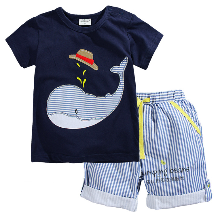 New 2016 summer brand Boys clothing set Boys Whale T shirt Striped Shorts Boys sets for